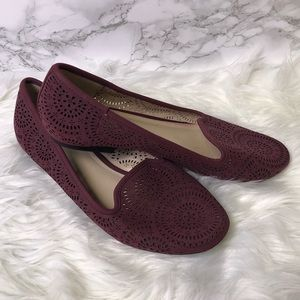 CATO Perforated Medallion Pattern Maroon Flats